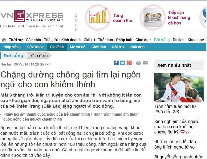 Trên Vnexpress: Chặng đường chông gai tìm lại ngôn ngữ cho con khiếm thính